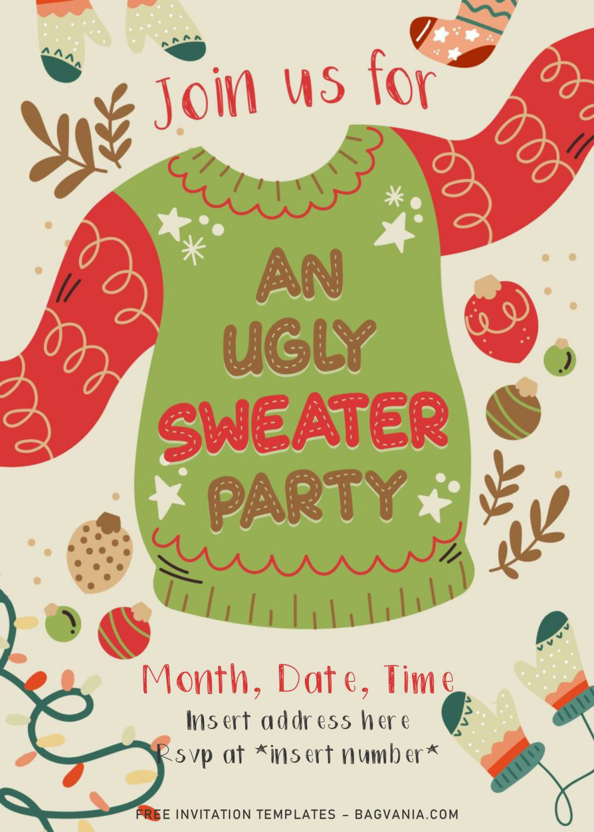 Free Winter Ugly Sweater Birthday Party Invitation Templates For Word and has tan background and Christmas theme