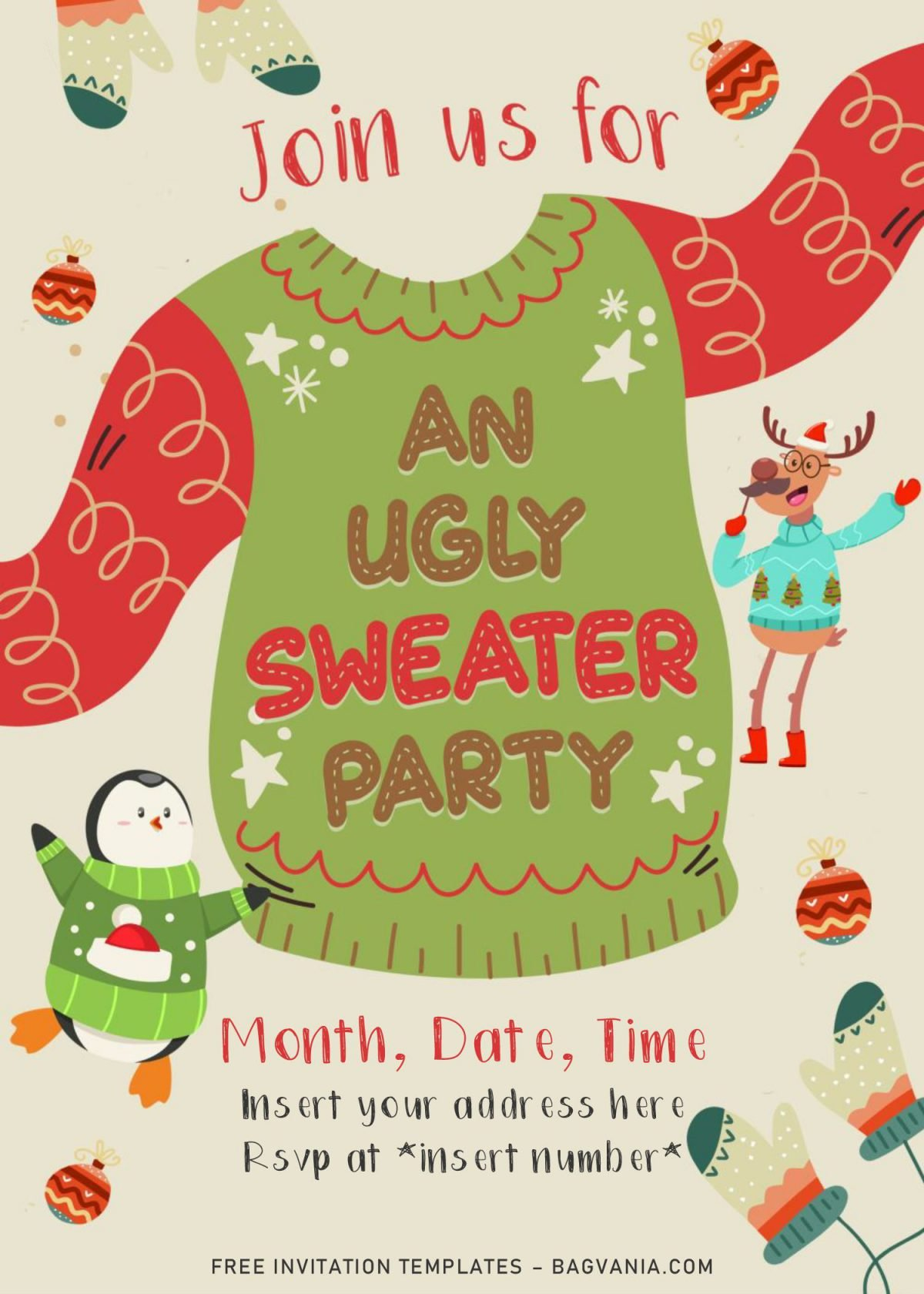 Free Winter Ugly Sweater Birthday Party Invitation Templates For Word and has portrait orientation card design