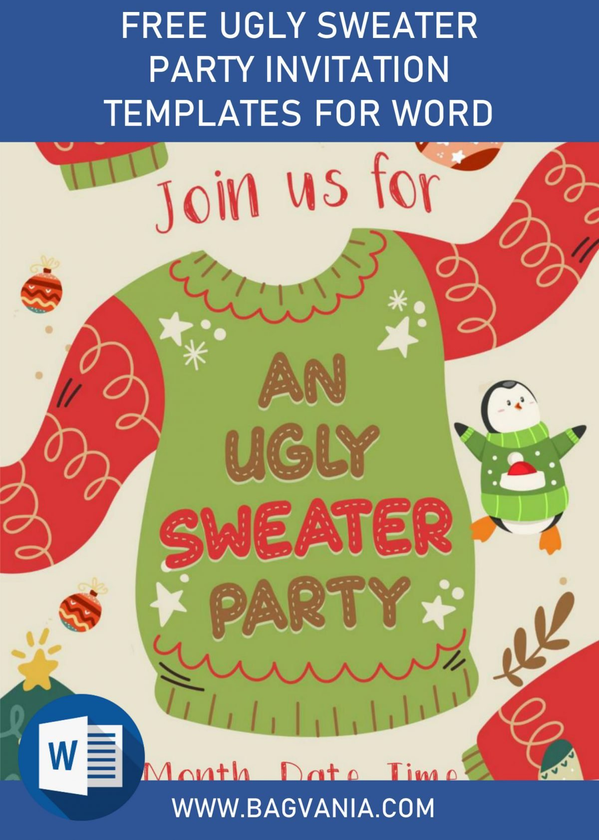 Free Winter Ugly Sweater Birthday Party Invitation Templates For Word