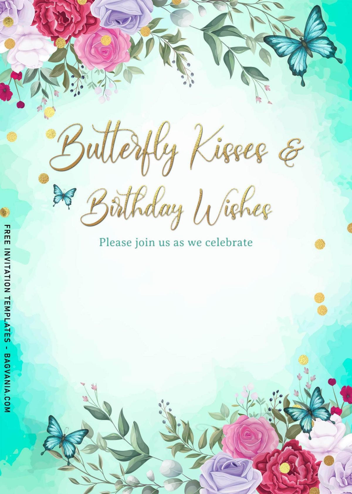7+ Magical Watercolor Butterfly Birthday Invitation Templates and has butterfly kisses and birthday wishes text
