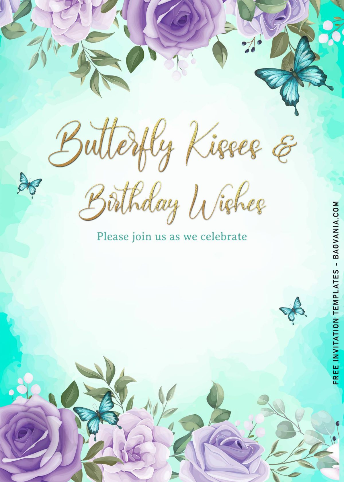 7+ Magical Watercolor Butterfly Birthday Invitation Templates and has gold glitter text