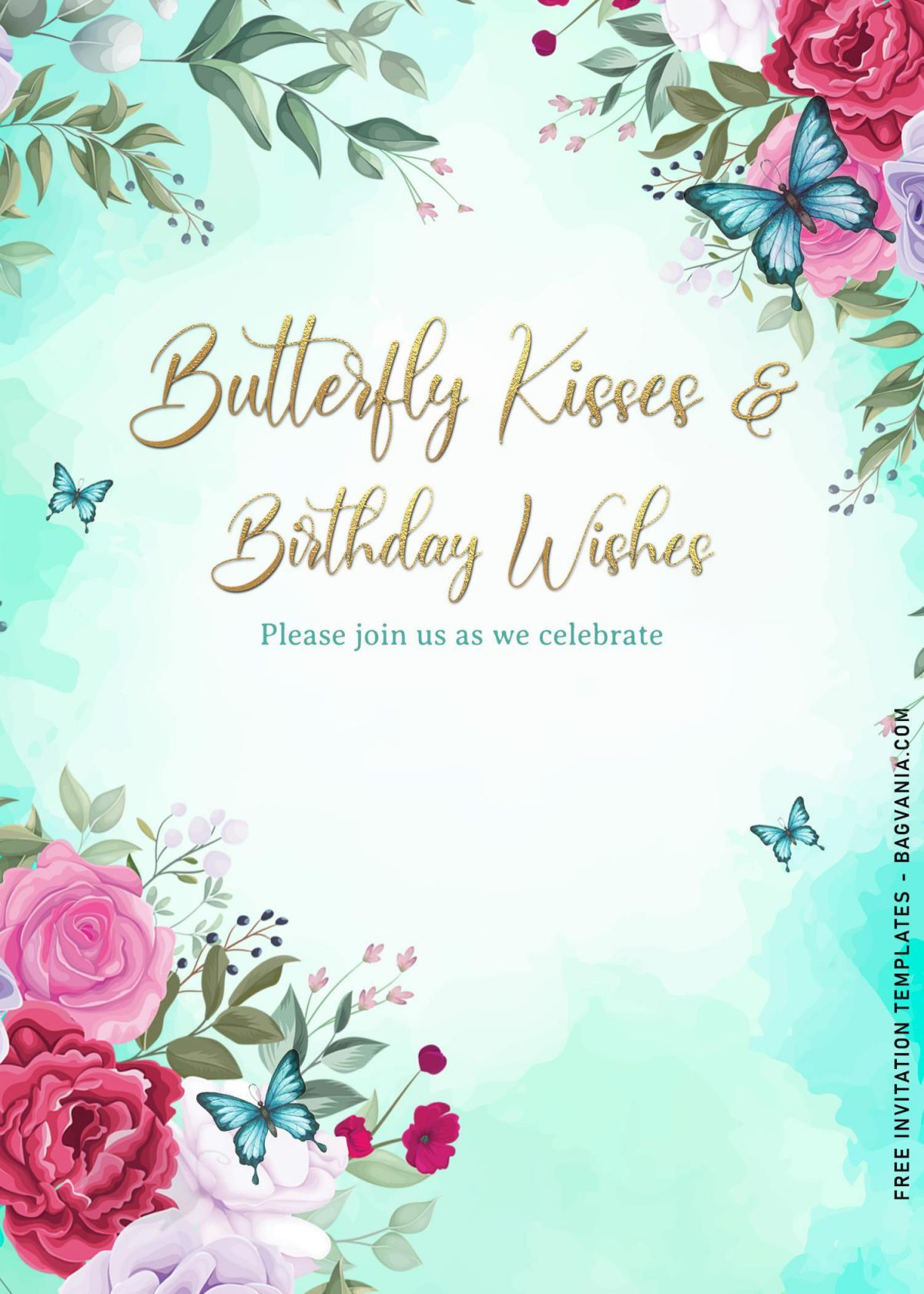 7+ Magical Watercolor Butterfly Birthday Invitation Templates and has watercolor roses
