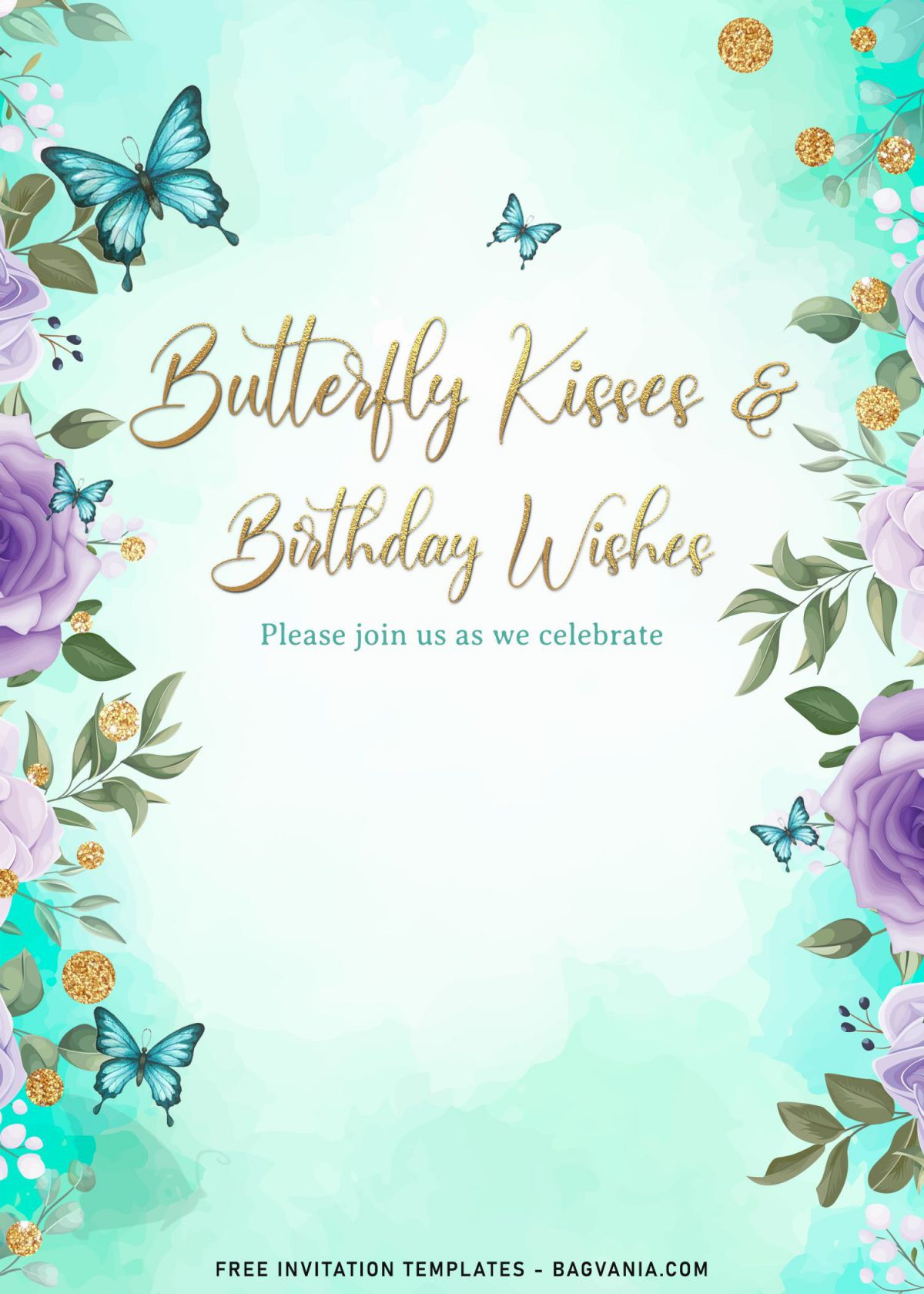 7+ Magical Watercolor Butterfly Birthday Invitation Templates and has custom floral border