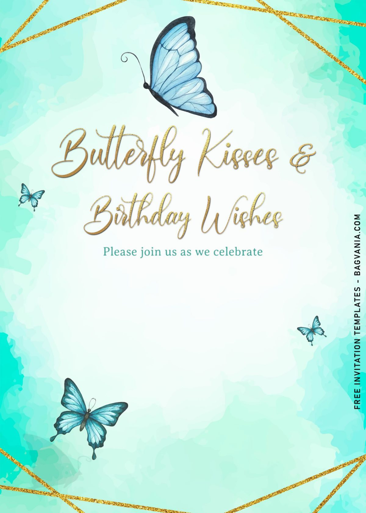 7+ Magical Watercolor Butterfly Birthday Invitation Templates and has beautiful watercolor background on canvas
