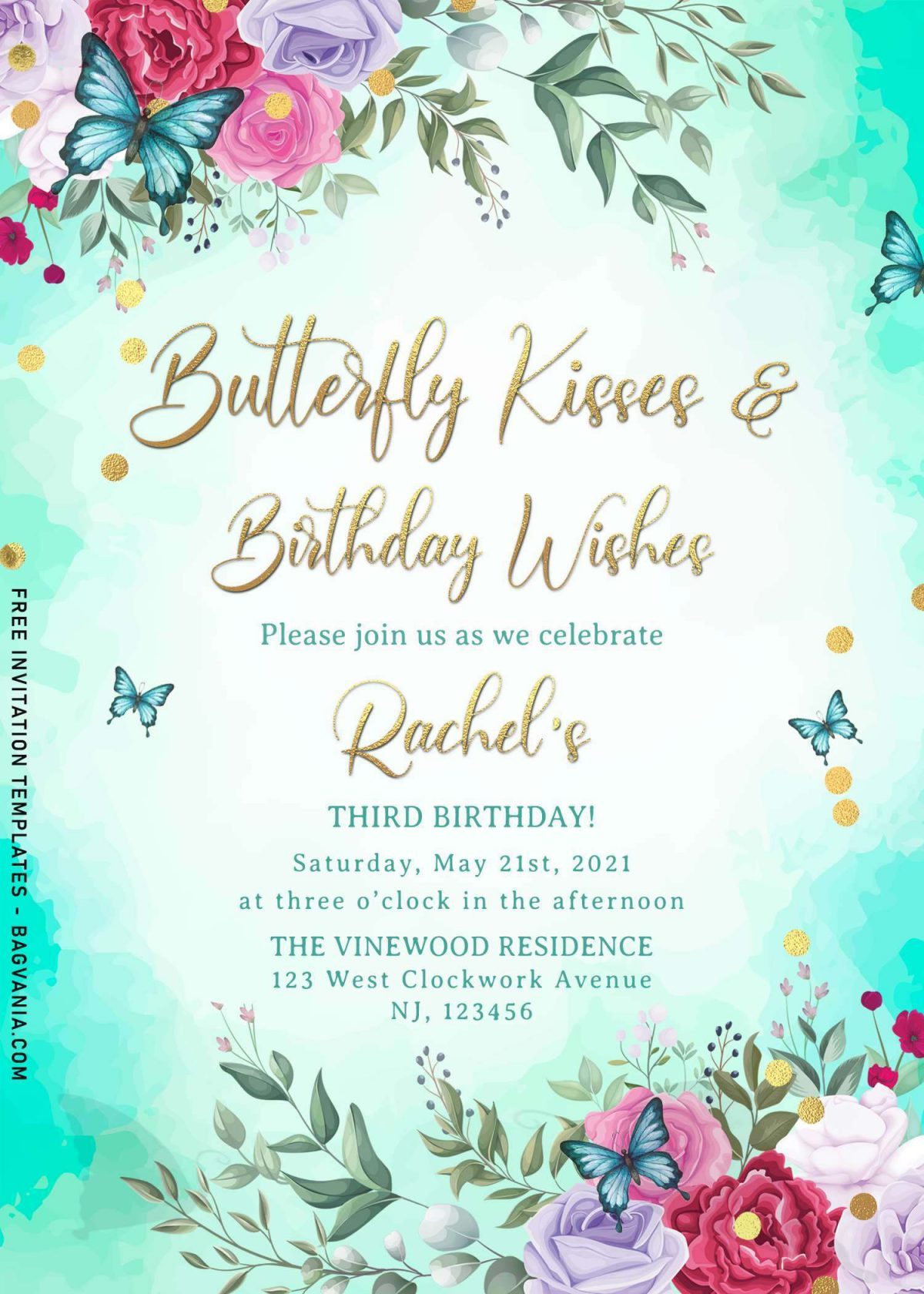 7+ Magical Watercolor Butterfly Birthday Invitation Templates and has portrait orientation card design