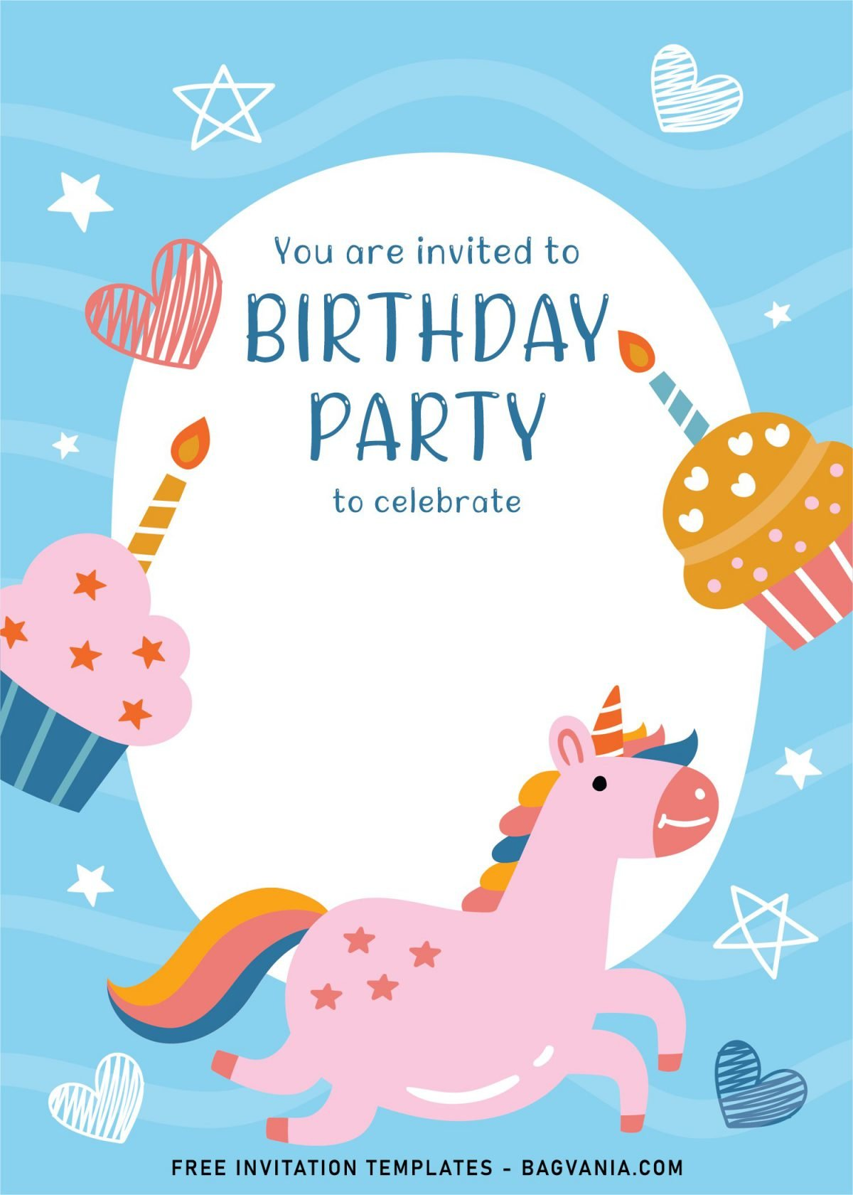 7+ Cute And Fun Birthday Invitation Templates For Kids Birthday Party and has Magical Unicorn with rainbow tail