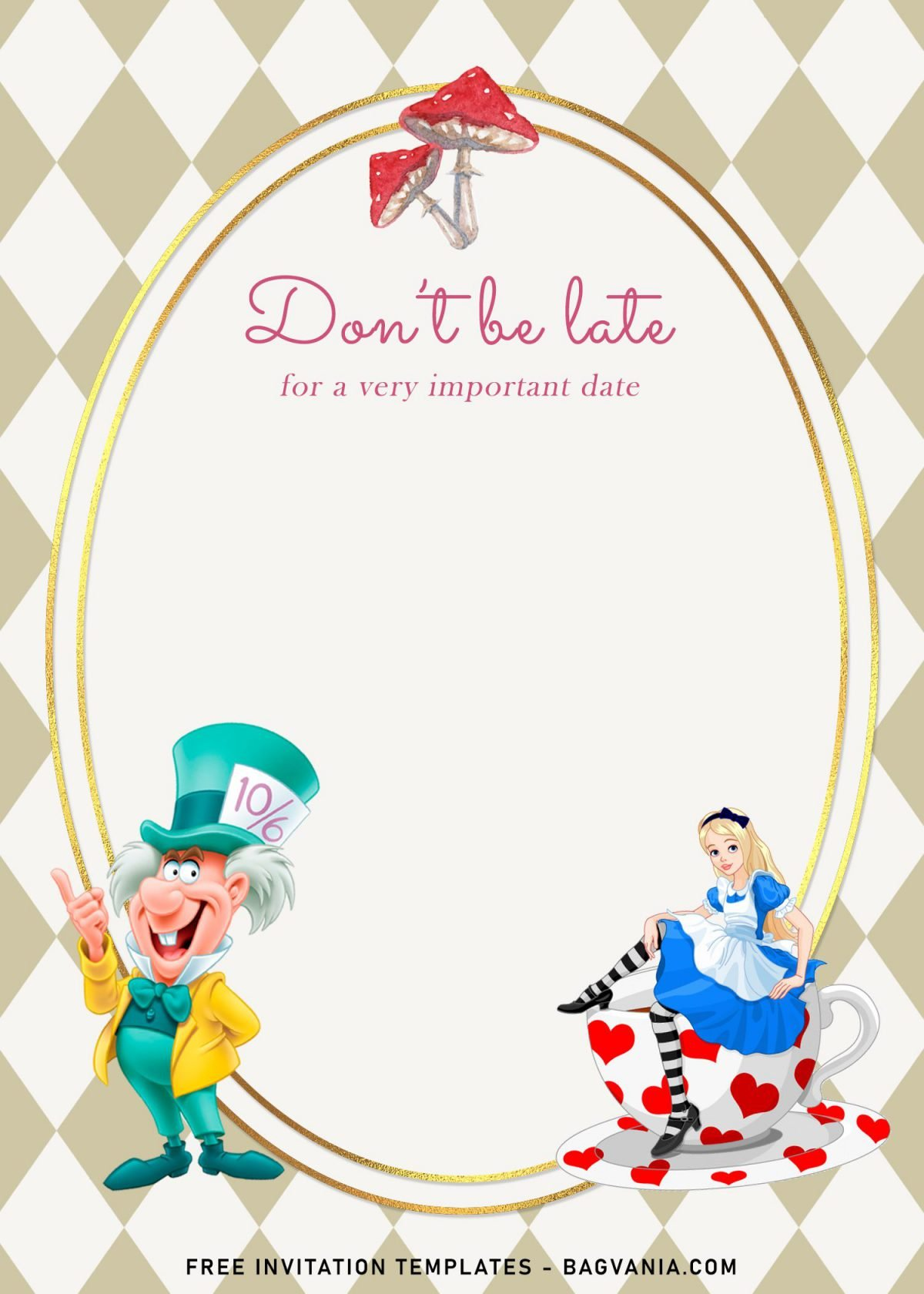 8+ Vintage Alice In Wonderland Birthday Invitation Templates and has Mushrooms
