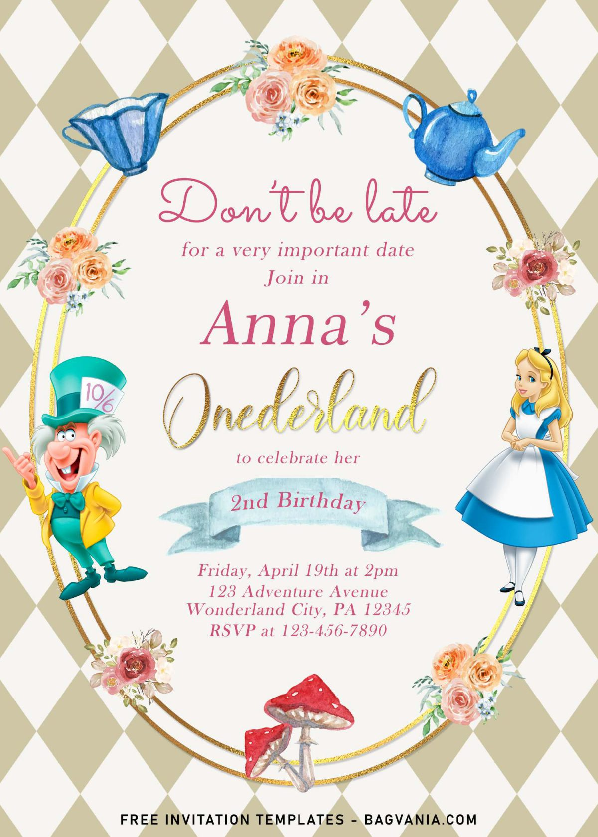 8+ Vintage Alice In Wonderland Birthday Invitation Templates