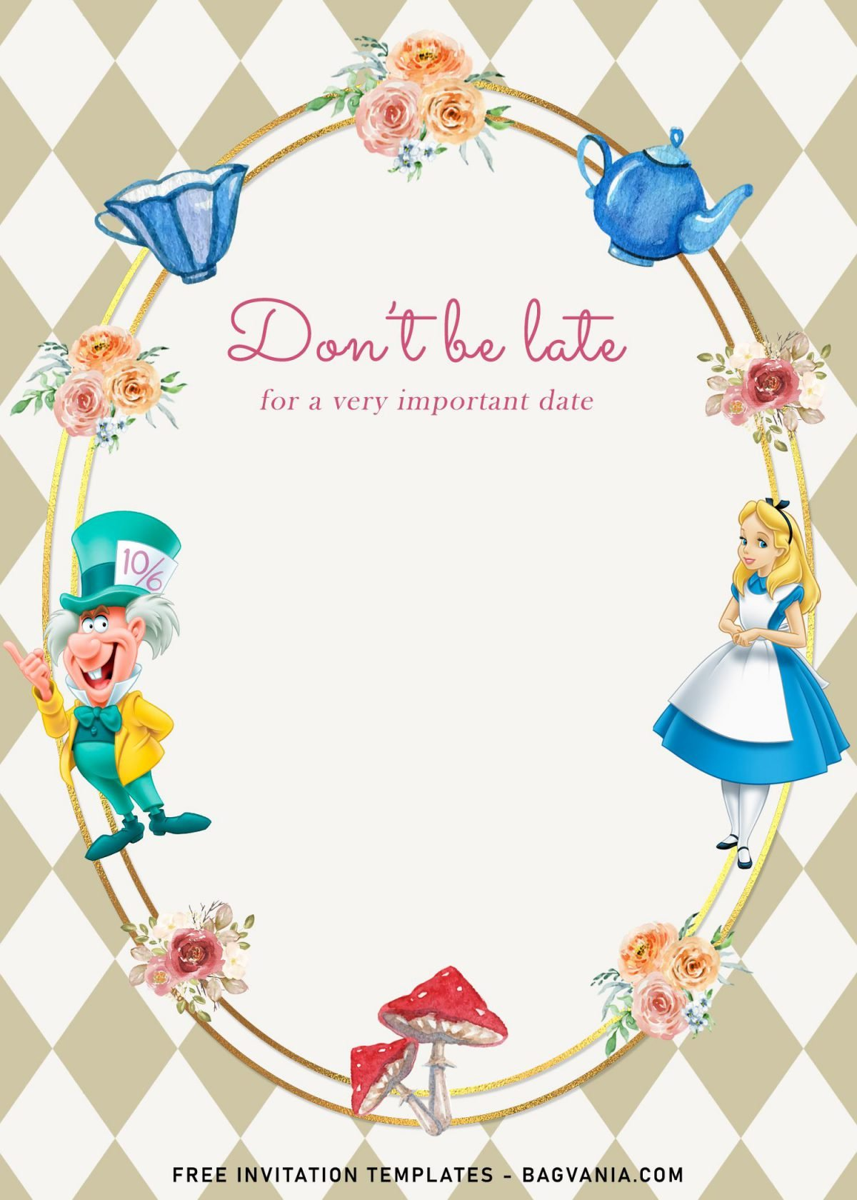 8+ Vintage Alice In Wonderland Birthday Invitation Templates and has Mad Hatter