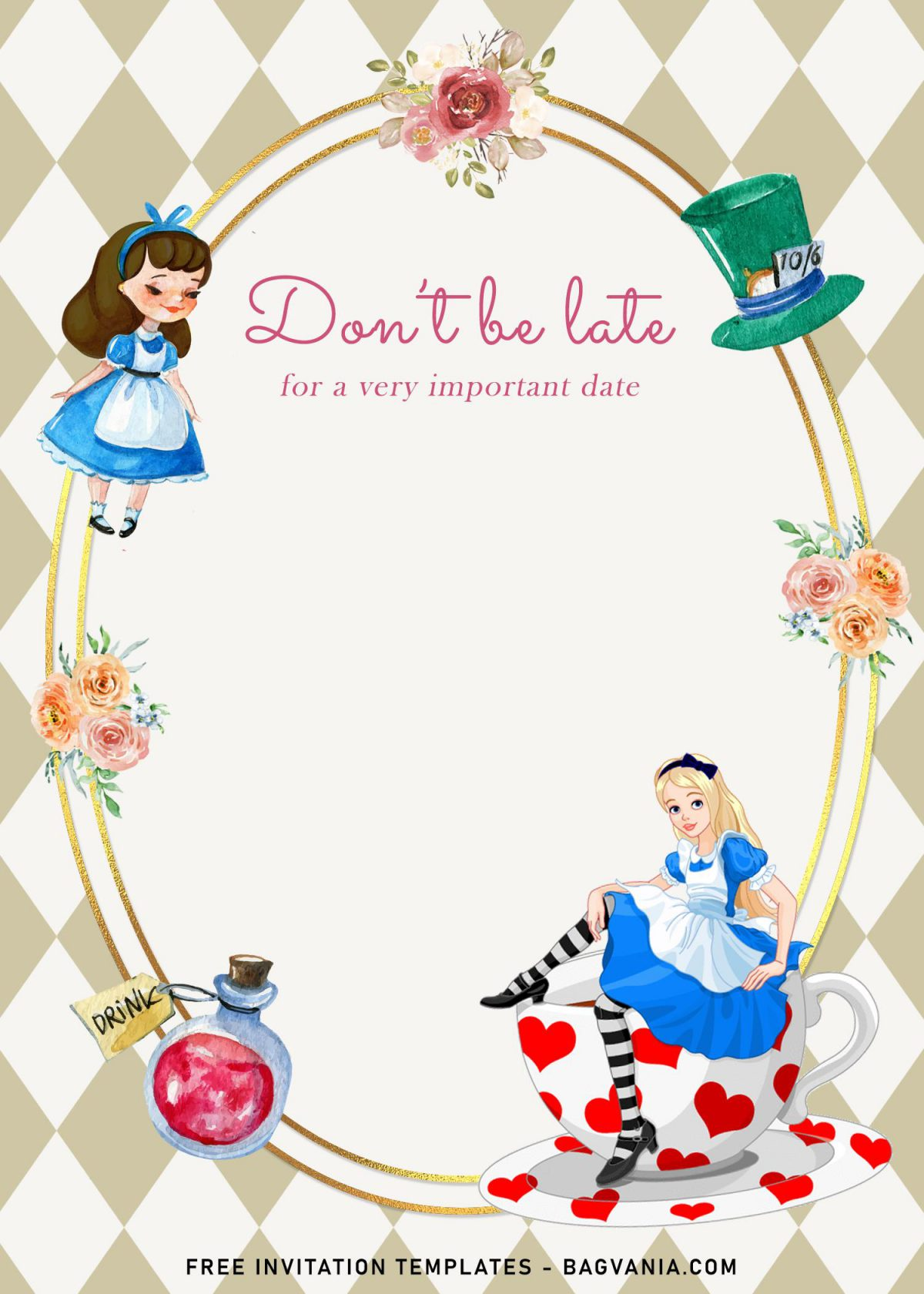 8+ Vintage Alice In Wonderland Birthday Invitation Templates and has cute Alice sitting on a cup