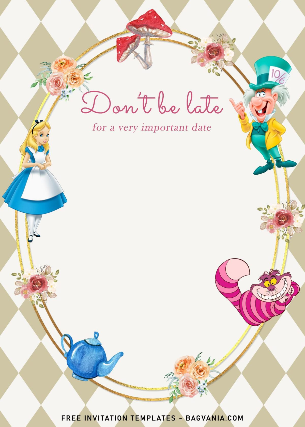 8+ Vintage Alice In Wonderland Birthday Invitation Templates and has Cheshire cat