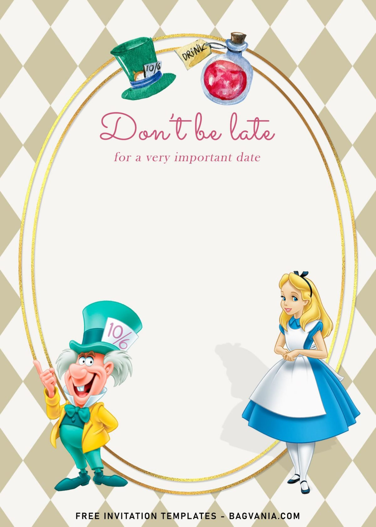 8+ Vintage Alice In Wonderland Birthday Invitation Templates and has cute Alice