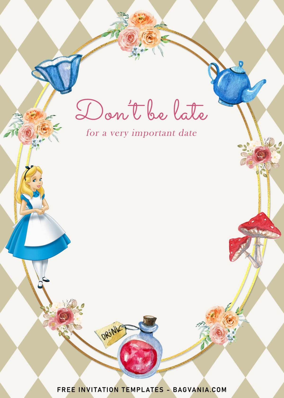 8+ Vintage Alice In Wonderland Birthday Invitation Templates and has stunning metallic gold frame