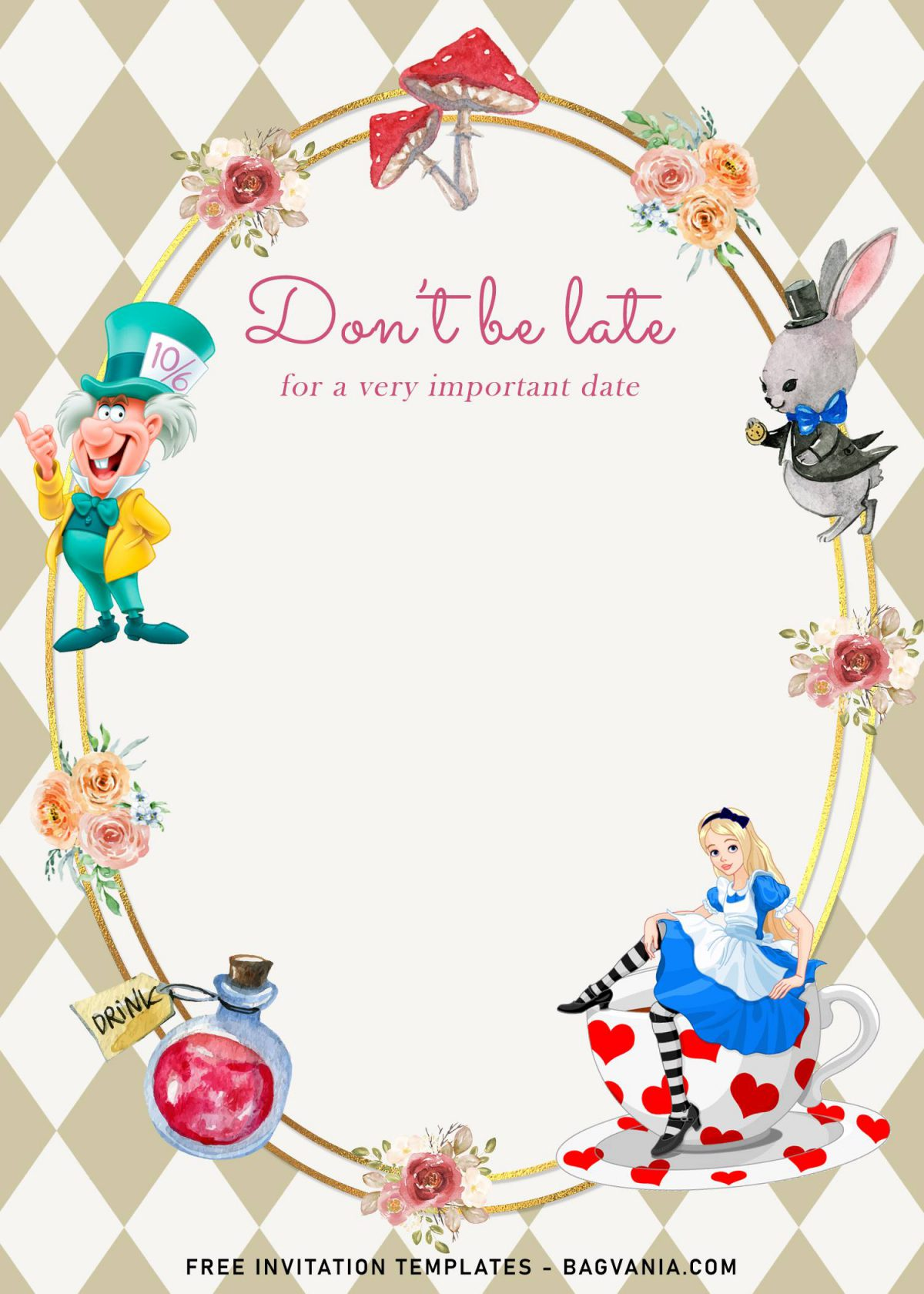 8+ Vintage Alice In Wonderland Birthday Invitation Templates and has diamond shape pattern